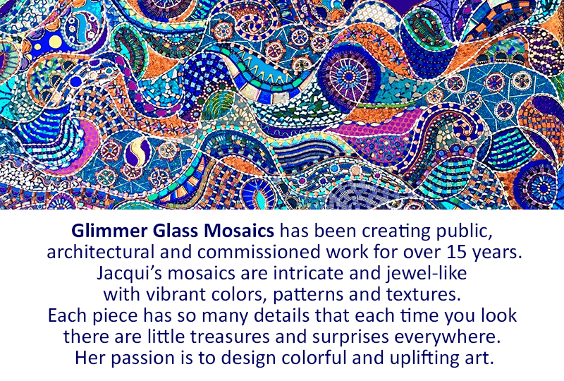 Glimmer Glass Mosaics has been creating public, architectural and commissioned work for over 15 years.